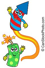 Pair of cute fireworks - isolated illustration.