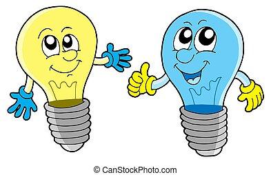 Pair of cute lightbulbs - isolated illustration.