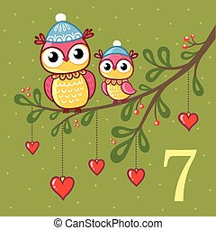 Pair of cute owls sit on a branch.