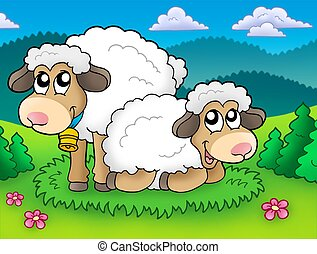 Pair of cute sheep on meadow - color illustration.