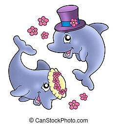 Pair of cute wedding dolphins - color illustration.