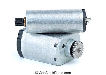 Pair of DC electric motors isolated on the white background