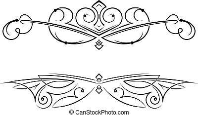 Pair of decorative swirls elements, dividers, page decors.