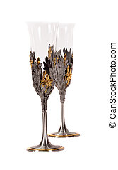 Pair of decorative wine glasses on white background