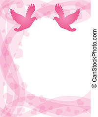 Pair of Doves on Swirl Border - Wedding Pair of Doves...