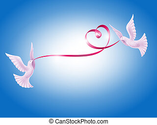 Pair of doves with heart - Pair of white doves with red ...