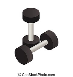 Pair of dumbbell icon, isometric 3d style