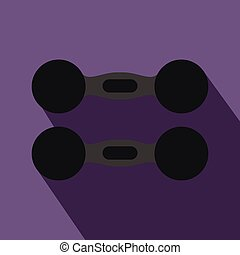 Pair of dumbbells icon, flat style