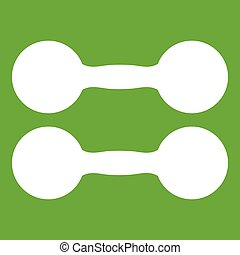 Pair of dumbbells icon green
