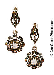 Pair of earrings isolated on the white background