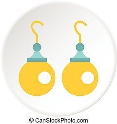 Pair of earrings with pearls icon circle
