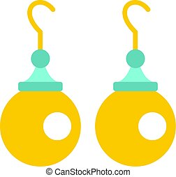 Pair of earrings with pearls icon isolated