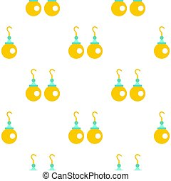 Pair of earrings with pearls pattern seamless