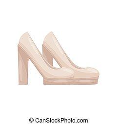 Pair of elegant female shoes high heels. Casual women footwear. Fashion theme. Flat vector design