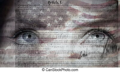 Pair of eyes and the constitution of the United States with flag