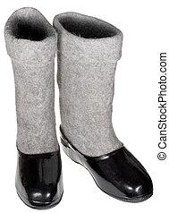 pair of felt boots in black rubber galosh