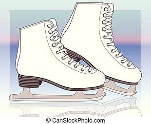 pair of figure skates, women's with gradient background