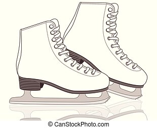 pair of figure skates, women's with white background