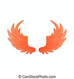 Pair of fire wings icon, cartoon style