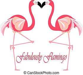 Pair of Flamingo Birds Standing Illustration