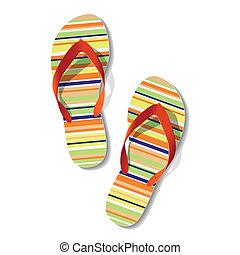Pair of flip flops - Vector illustration of pair of flip...