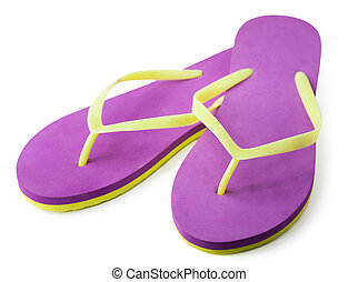Pair of flip flops. isolated - Pair of flip flops