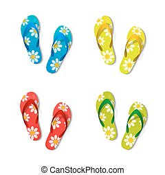 Pair of flip flops set color isolated white. Vector illustration.