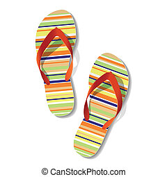 Pair of flip flops - Vector illustration of pair of flip...