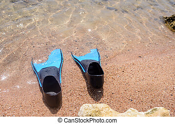Pair of flippers on a beach
