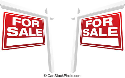 Pair of For Sale Real Estate Signs