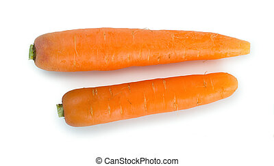 Pair of fresh, ripe carrots isolated on white background, top view.