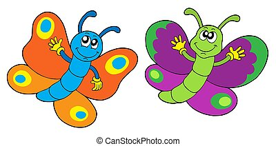 Pair of funny butterflies - isolated illustration.