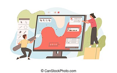 Pair of funny young man and woman drawing with pen in graphic editor. Cute digital designers or illustrators working together on giant computer display. Flat cartoon colorful vector illustration.