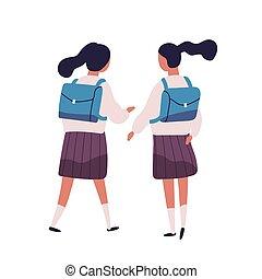 Pair of girls or twin sisters dressed in school uniform....