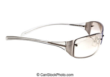 A closeup studio shot of a pair of clear sunglasses.