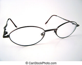 Isolated part of glasses with a dark colored frame