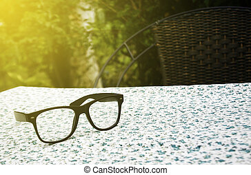 Pair of glasses on table cloth