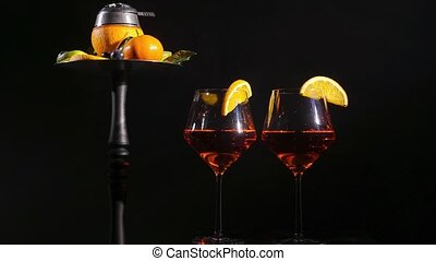 Pair of glasses with alcoholic drink beverage wine and...