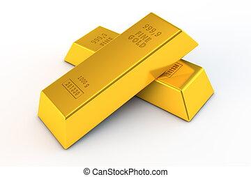 Pair of Gold Bars - a pair of gold bars on white background...