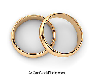 Pair of golden rings - isolated on white background