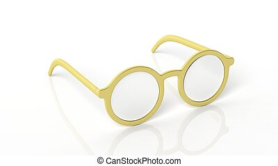 Pair of golden round-lens eyeglasses, isolated on white background.