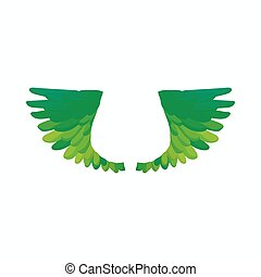 Pair of green bird wings icon, cartoon style