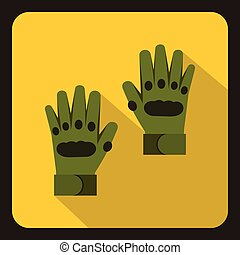Pair of green paintball gloves icon, flat style