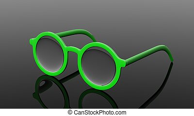 Pair of green round-lens eyeglasses, isolated on black background.