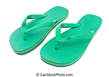 Pair of green rubber flip flop sandals isolated on white