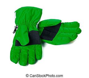 Pair of green winter ski gloves
