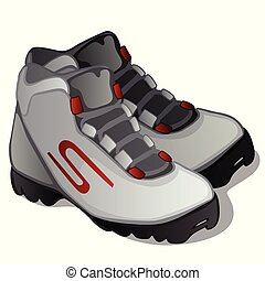 Pair of grey ski boots isolated on white background. Modern clothing for winter sports. Vector illustration.