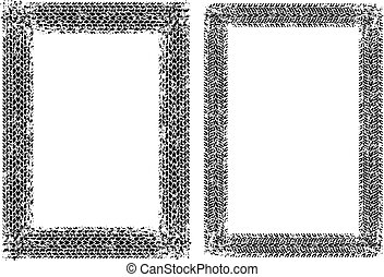 Pair of grunge frames with tire tracks. Vector illustration.