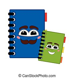 Pair of happy books with a smile