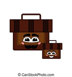 Pair of happy suitcases with a smile